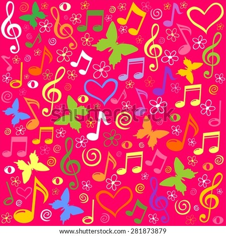 Pink seamless pattern wallpaper of musical notes.  Illustration - stock photo