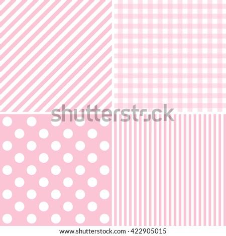 Pink set of 4 background patterns.  - stock photo