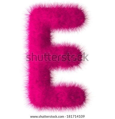 Pink shag E letter isolated on white background - stock photo