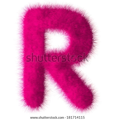 Pink shag R letter isolated on white background - stock photo