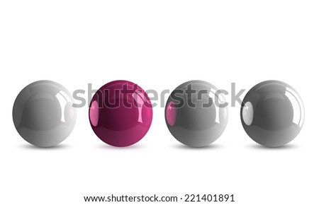 Pink shiny ball in row of white ones isolated on white - stock photo