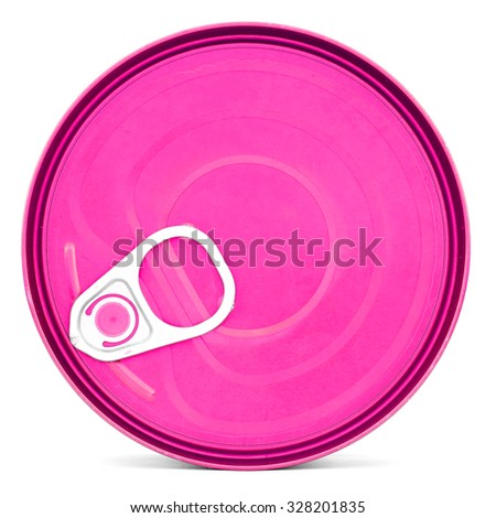 Pink shiny top of food can with pull-ring, isolated - stock photo