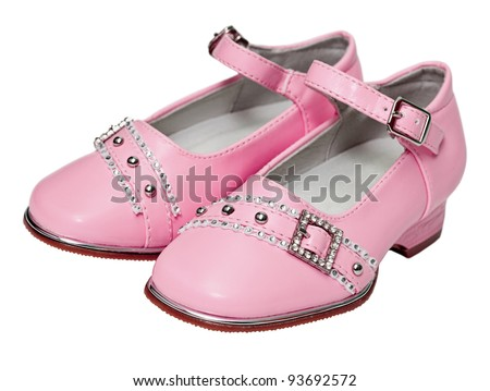 Pink shoes for girls isolated on white background - stock photo