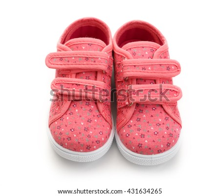 Pink shoes for girls on white background