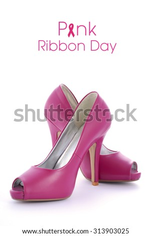 Pink shoes for Pink Ribbon Day Event with sample text on white background.