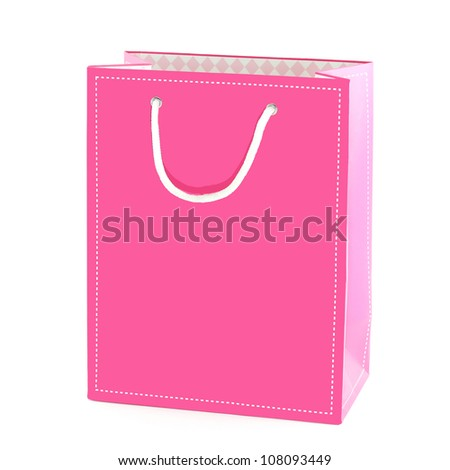 Pink shopping bag isolated on a white background - stock photo