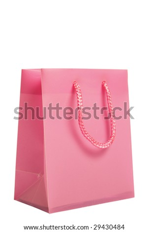 Pink Shopping Bag isolated on white with clipping path - stock photo