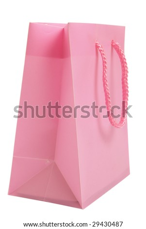 Pink Shopping Bag isolated on white with clipping path