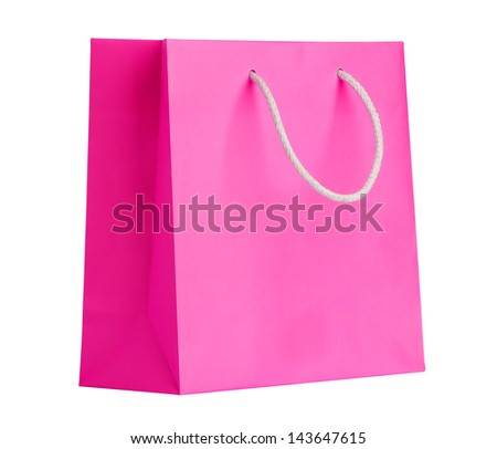 Pink shopping bag on white. - stock photo