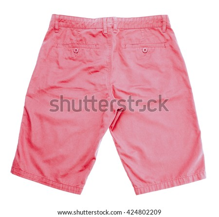 Pink shorts, bright pink shorts on white background