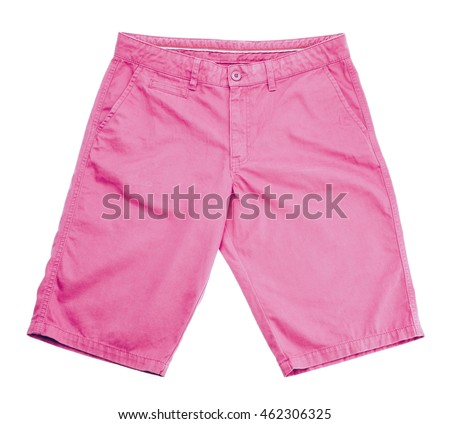pink shorts on white background.