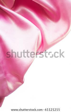 Pink silk border isolated on white - stock photo