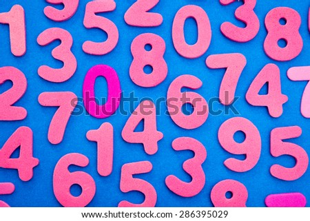 Pink single digit numbers placed randomly over a blue background, from one to nine, including a dark pink nil. - stock photo
