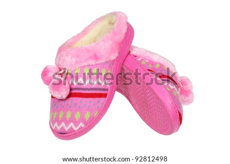 Pink slippers isolated over white with clipping path - stock photo