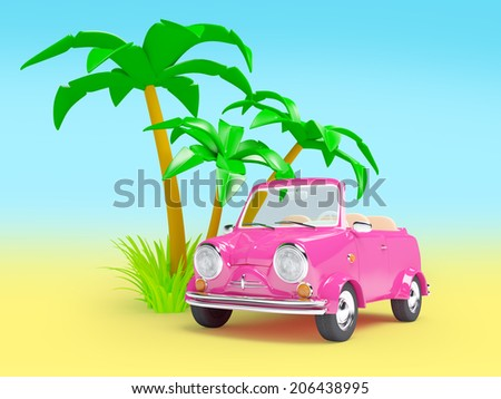 pink small car with palm trees on a white background - stock photo