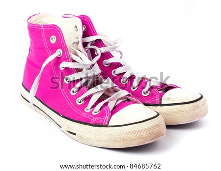 pink sneakers - stock photo