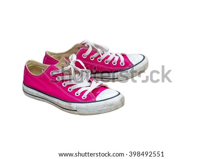 Pink Sneakers old shoes on white background