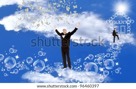 Pink soap dreams of a happy life and well-being - stock photo
