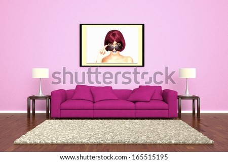 Pink sofa with picture attached to wall and brown carpet - stock photo