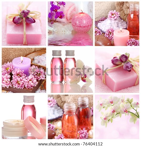 Pink spa collage - stock photo