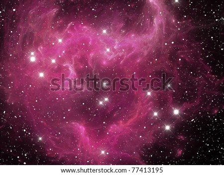 Pink space star nebula - stock photo