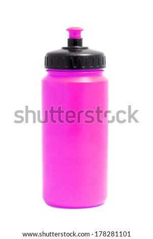pink sport plastic water bottle on white - stock photo