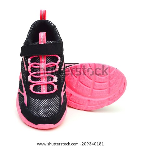 pink sport shoes on white background  - stock photo