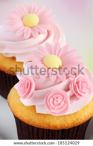 Pink spring, wedding or Mother's day cupcakes - stock photo