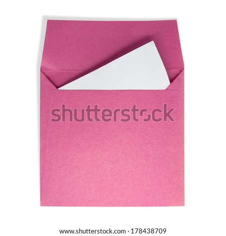 Pink square envelopes. A white paper inside on a white background with clipping path. - stock photo
