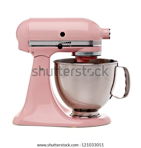Pink stand mixer with clipping path - stock photo
