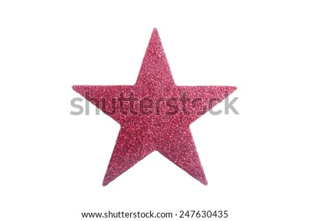 pink star with glitter on a white background - stock photo