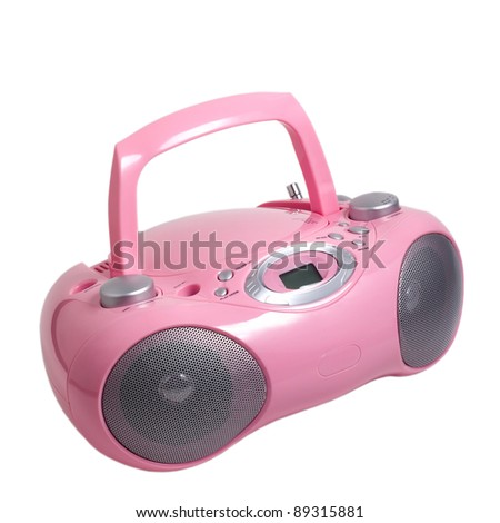 pink stereo cd mp3 radio cassette recorder is isolated on a white background - stock photo