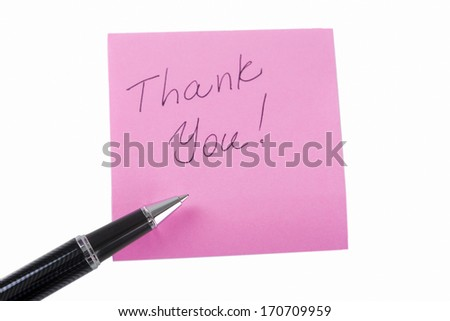 "Pink Sticky Note With ""Thank you!"" Written Text  On It and a Luxury Pen. Isolated Over white - stock photo"