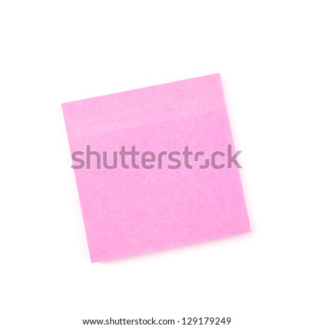 Pink sticky paper note isolated on white - stock photo