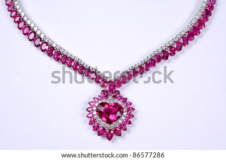 pink stones on white background - stock photo
