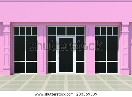 Pink store. Classic shopfront in the sun - stock photo