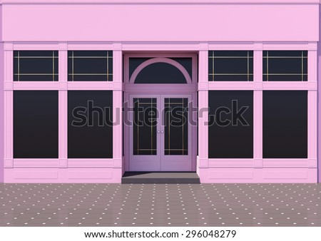 Pink store with large windows. Classic store facade - stock photo