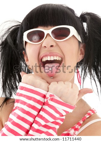 pink striped asian girl portrait over white - stock photo