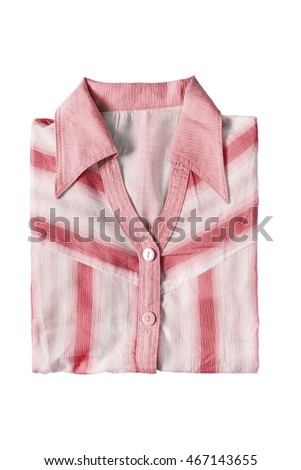 Pink striped folded shirt on white background