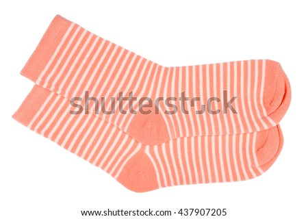 Pink striped socks isolated.