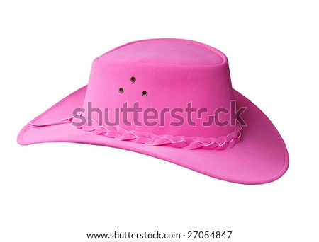 PinK Suede Cowgirl Hat isolated with clipping path - stock photo