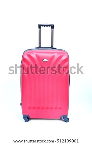 pink suitcase isolated on white background