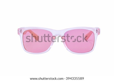 Pink Sunglasses isolated over white background - stock photo