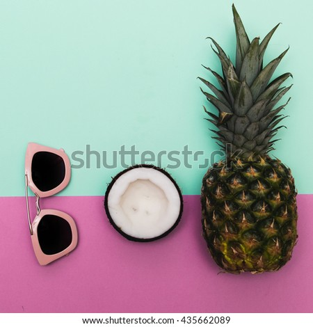 Pink sunglasses with fruit in trendy pink and mint colors. - stock photo