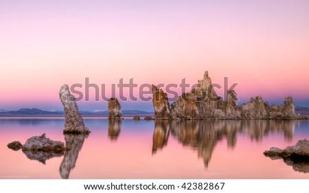 Pink Sunset at Mono Lake 2 - stock photo