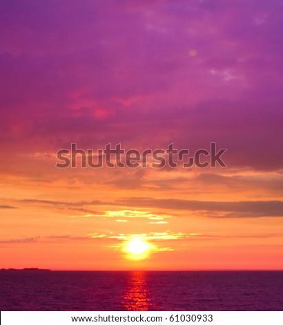 Pink Sunset Burning Down - stock photo