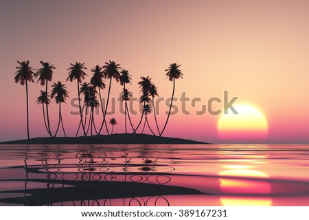 pink sunset over tropical coconut island - stock photo