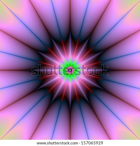 Pink Supernova / Digital abstract fractal image with a star design in pink and blue.