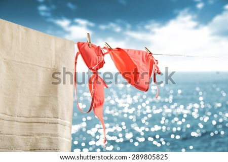 pink swimsuit and red towel on rope and blurred sea