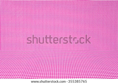 pink tablecloth texture, background with copy space (The pattern on this fabric is common in Thailand and is not subjected to copyright) - stock photo